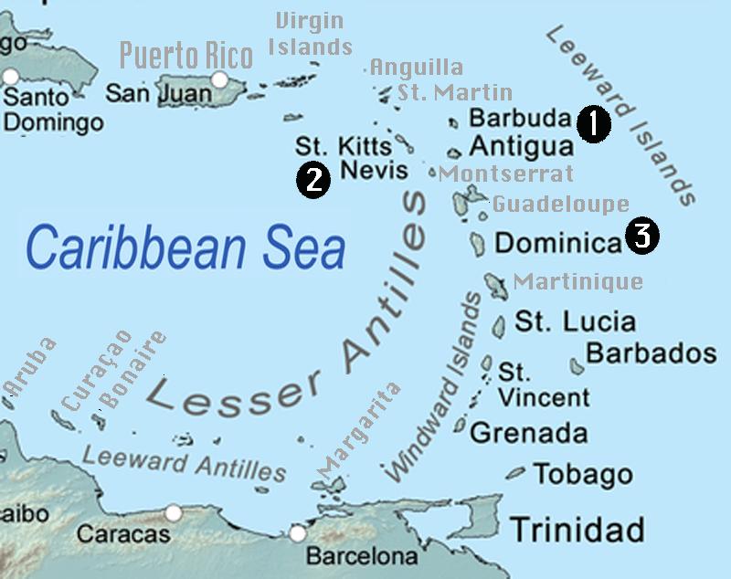 Lesser Antilles Caribbean Map