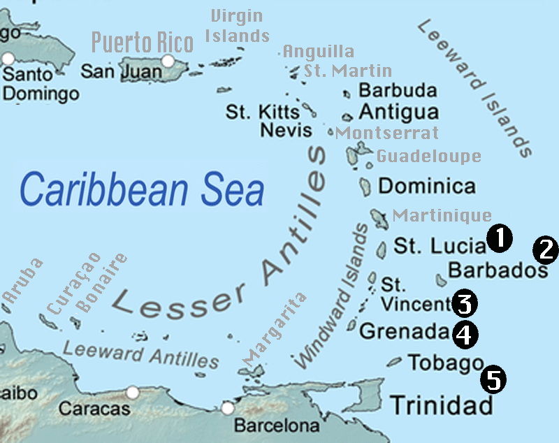Caribbean Islands Map With Capitals. List Of All Countries ...